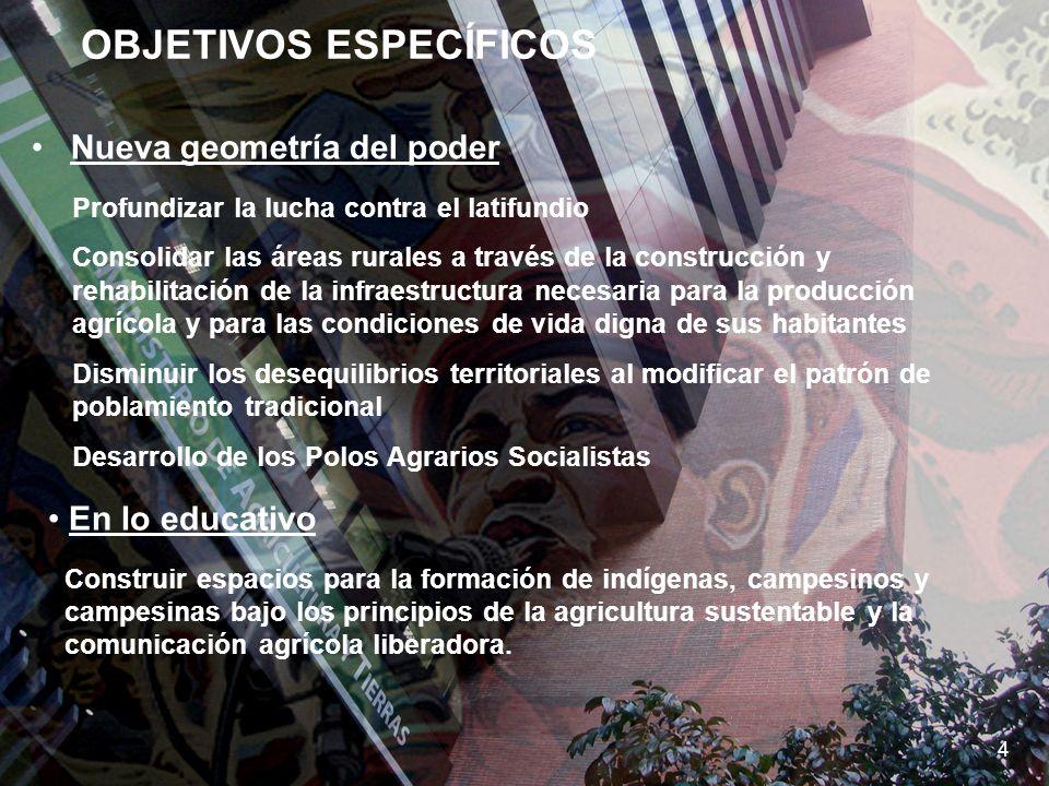 SEMBRANDO LA PATRIA SOCIALISTA 5 OBJETIVOS ESPECÍFICOS 4 Nueva geometría del poder Construir espacios para la formación de indígenas, campesinos y cam
