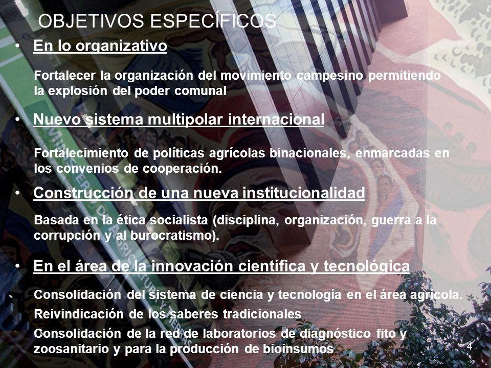 SEMBRANDO LA PATRIA SOCIALISTA 6 OBJETIVOS ESPECÍFICOS 4 En lo organizativo Nuevo sistema multipolar internacional Construcción de una nueva instituci