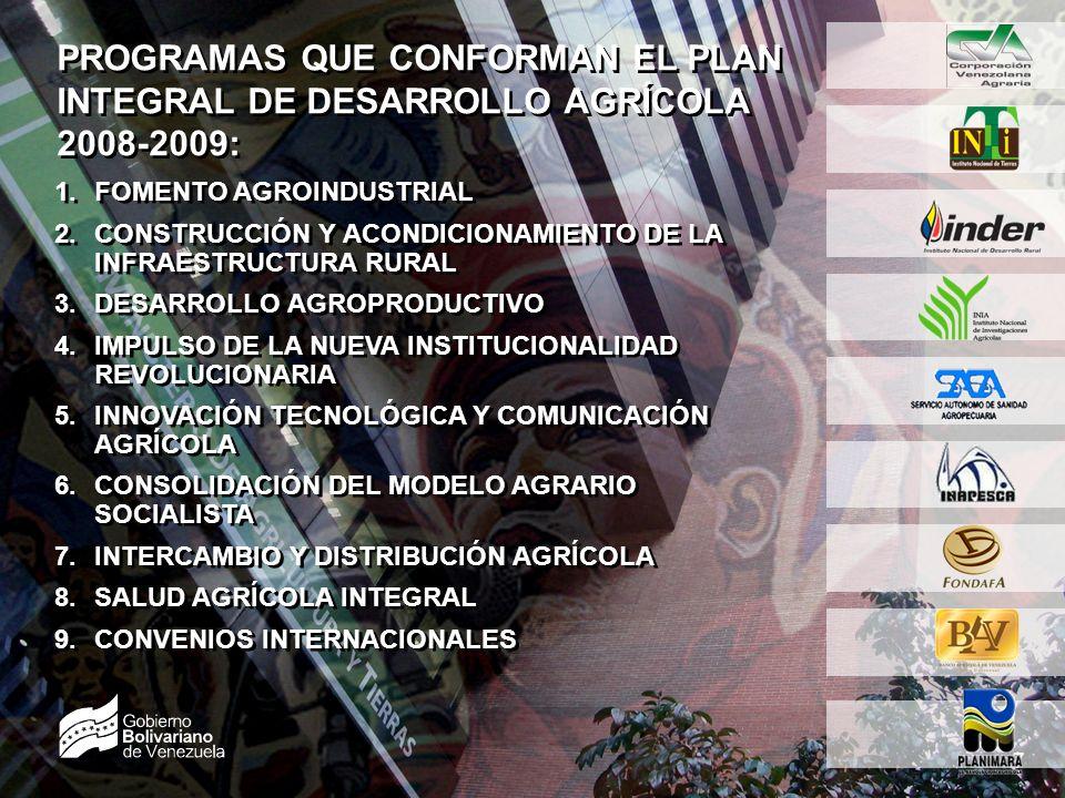 SEMBRANDO LA PATRIA SOCIALISTA 7 7 PROGRAMAS QUE CONFORMAN EL PLAN INTEGRAL DE DESARROLLO AGRÍCOLA 2008-2009: 1.FOMENTO AGROINDUSTRIAL 2.CONSTRUCCIÓN