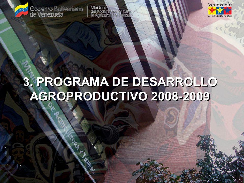 SEMBRANDO LA PATRIA SOCIALISTA 9 DESCRIPCIÓNVEGETALPECUARIO PESQUERO Y ACUÍCOLA FORESTAL GENERAR POLÍTICAS Y PROGRAMAS DE APOYO FINANCIERO PARA BENEFICIAR A: 270.000 AGRICULTORES 28.000 UNIDADES DE PRODUCCIÓN 2.150 PESCADORES Y 470 PISCICULTORES 800 PRODUCTORES SUPERFICIE EN PRODUCCIÓN:2.310.379 Ha---808 Ha DE PISCICULTURA 5.924 Ha DE PLANTACIONES PRODUCCIÓN DE ALIMENTOS:21.070.000 TM3.443.233 TM6.400 TM--- IMPACTO EN COMPARACIÓN CON EL AÑO 2007 (INCREMENTO PORCENTUAL): 9%10%13% ACUÍCOLA6% METAS DEL PROGRAMA DE DESARROLLO AGROPRODUCTIVO
