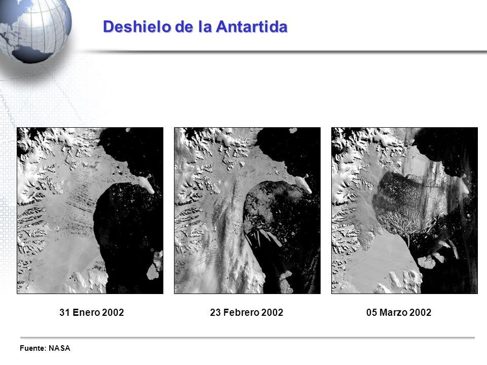 31 Enero 2002 23 Febrero 200205 Marzo 2002 Fuente: NASA Deshielo de la Antartida
