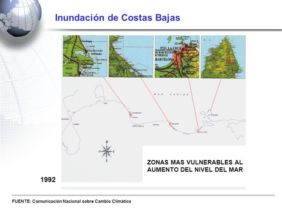 ZONAS MAS VULNERABLES AL AUMENTO DEL NIVEL DEL MAR Inundación de Costas Bajas FUENTE: Comunicación Nacional sobre Cambio Climático 1992
