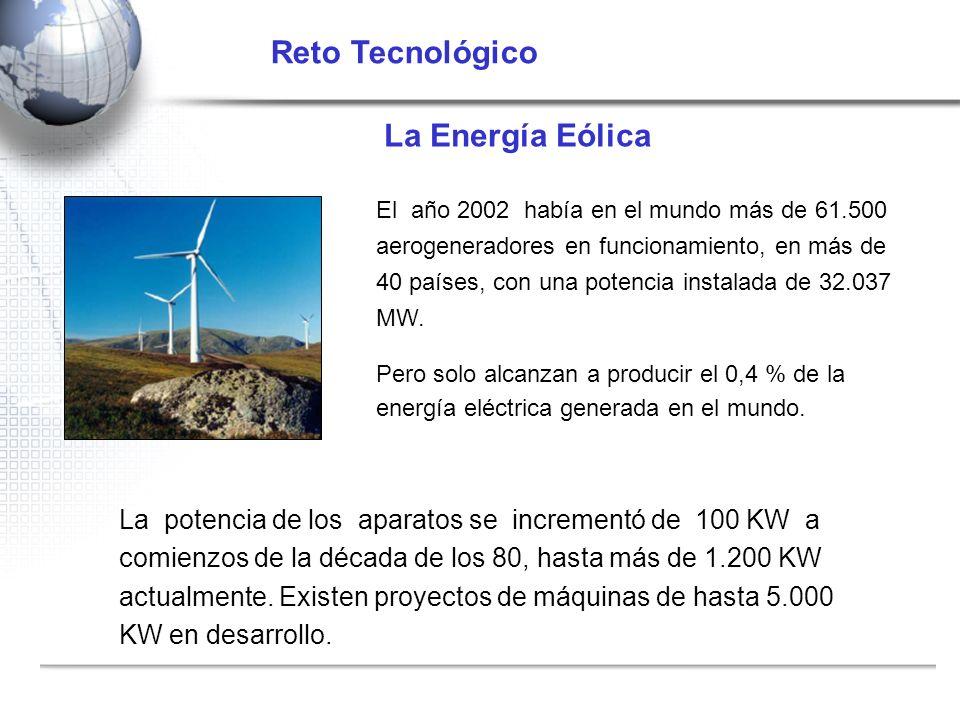 La Energía Eólica El año 2002 había en el mundo más de 61.500 aerogeneradores en funcionamiento, en más de 40 países, con una potencia instalada de 32