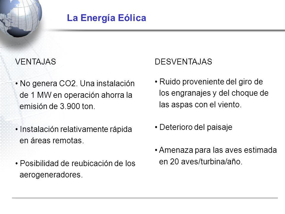 VENTAJAS No genera CO2. Una instalación de 1 MW en operación ahorra la emisión de 3.900 ton. Instalación relativamente rápida en áreas remotas. Posibi
