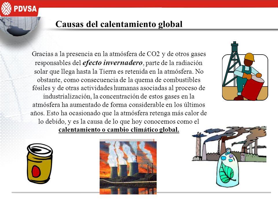 Causas del calentamiento global Gracias a la presencia en la atmósfera de CO2 y de otros gases responsables del efecto invernadero, parte de la radiac