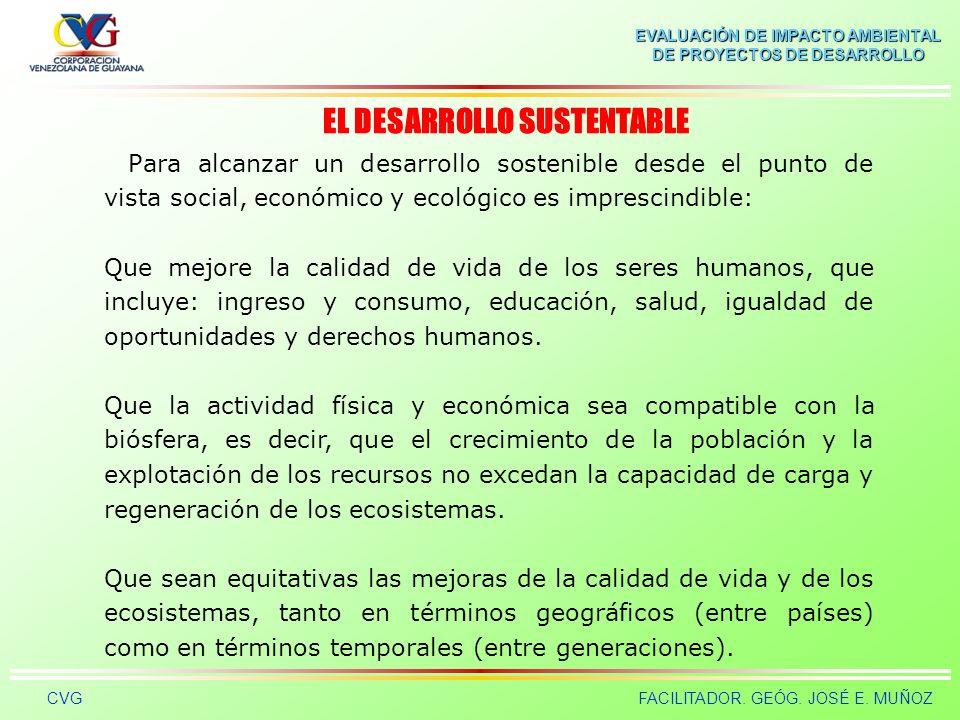 EVALUACIÓN DE IMPACTO AMBIENTAL DE PROYECTOS DE DESARROLLO CVGFACILITADOR. GEÓG. JOSÉ E. MUÑOZ El concepto de sostenibilidad al igual que el de conser