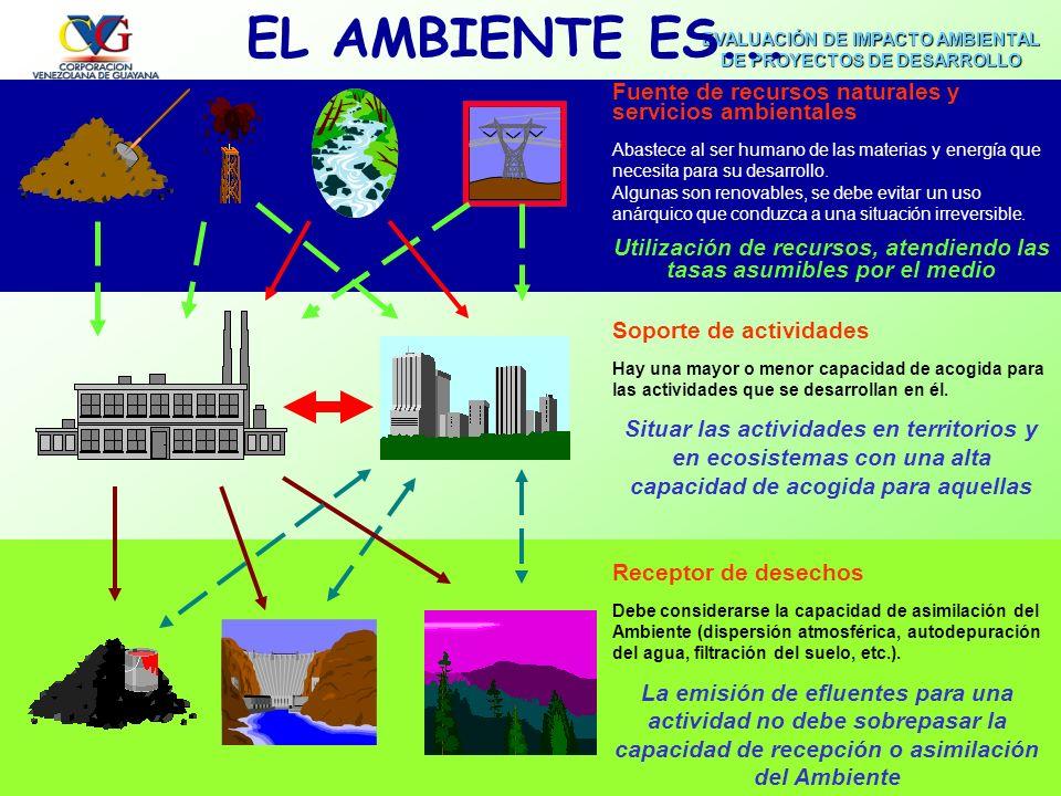 EVALUACIÓN DE IMPACTO AMBIENTAL DE PROYECTOS DE DESARROLLO CVGFACILITADOR. GEÓG. JOSÉ E. MUÑOZ Factores Ambientales Componentes del ambiente entre los