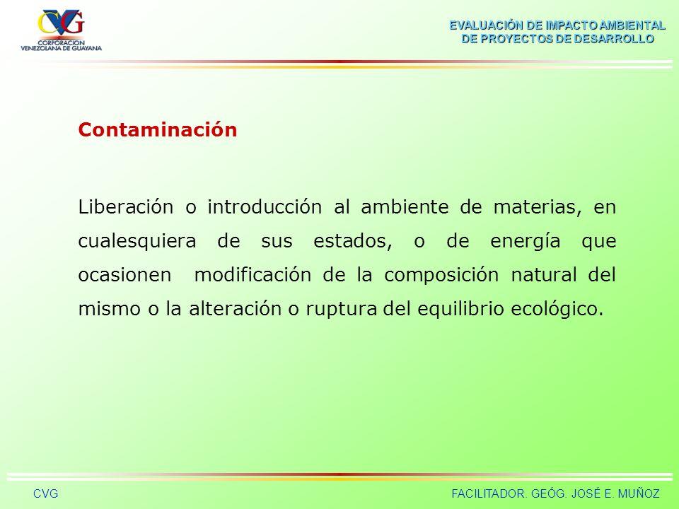 EVALUACIÓN DE IMPACTO AMBIENTAL DE PROYECTOS DE DESARROLLO CVGFACILITADOR. GEÓG. JOSÉ E. MUÑOZ Calidad Ambiental Características del ambiente, determi