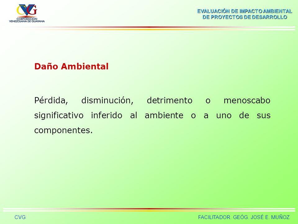 EVALUACIÓN DE IMPACTO AMBIENTAL DE PROYECTOS DE DESARROLLO CVGFACILITADOR. GEÓG. JOSÉ E. MUÑOZ Contaminante Elemento, compuesto, sustancia, derivado q