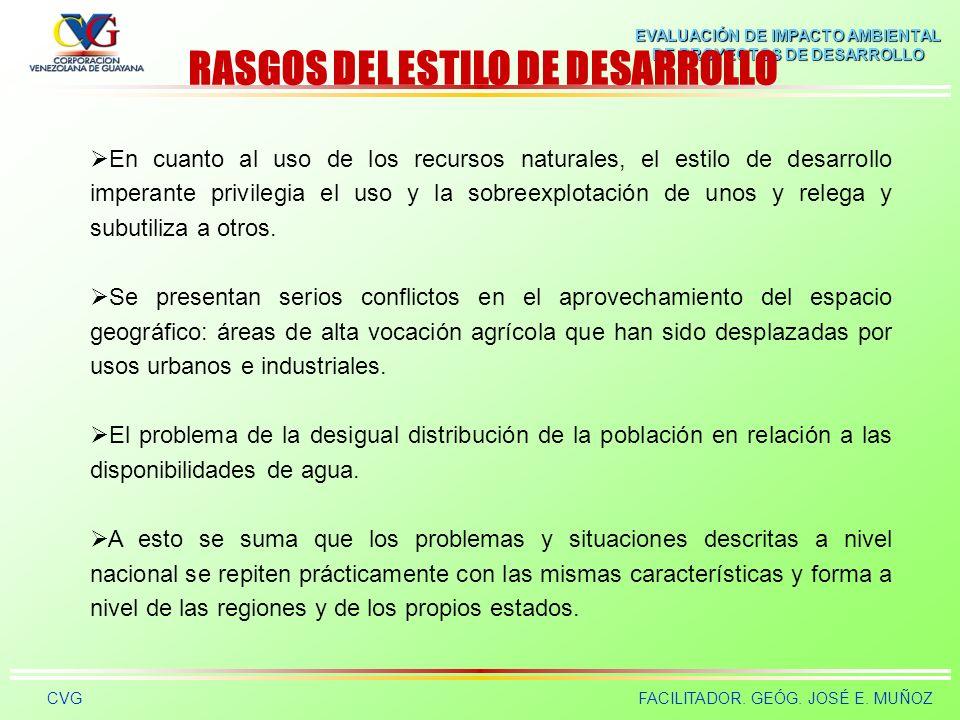 EVALUACIÓN DE IMPACTO AMBIENTAL DE PROYECTOS DE DESARROLLO CVGFACILITADOR. GEÓG. JOSÉ E. MUÑOZ