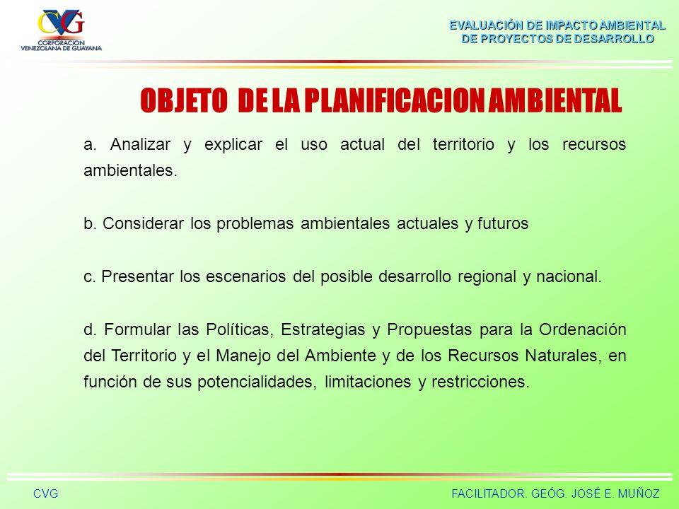 EVALUACIÓN DE IMPACTO AMBIENTAL DE PROYECTOS DE DESARROLLO CVGFACILITADOR. GEÓG. JOSÉ E. MUÑOZ PLANIFICACION Y GESTION AMBIENTAL La planificación y ge