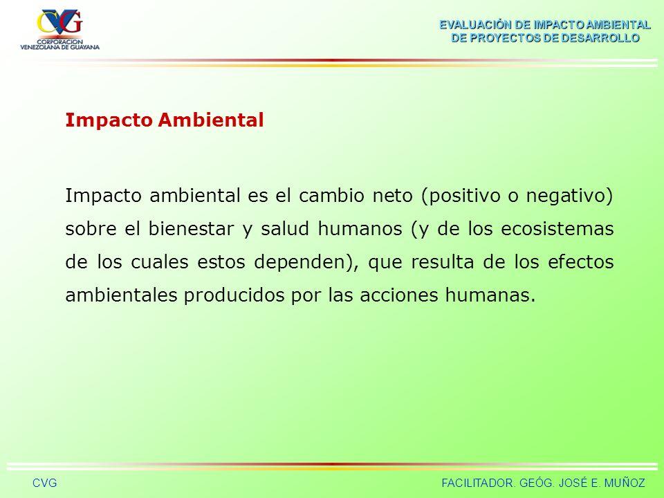 EVALUACIÓN DE IMPACTO AMBIENTAL DE PROYECTOS DE DESARROLLO CVGFACILITADOR. GEÓG. JOSÉ E. MUÑOZ Indicador de Impacto Ambiental Es el elemento o concept