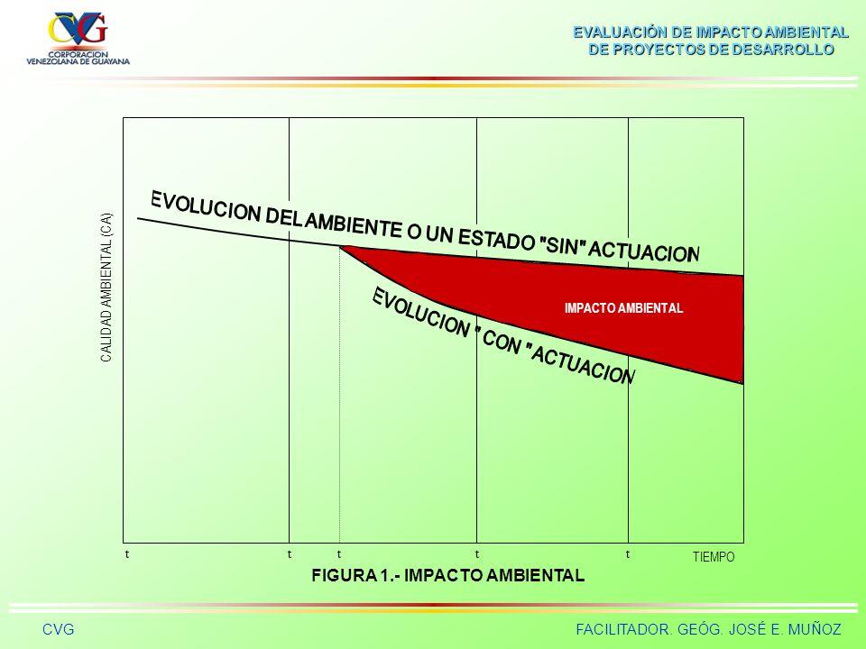EVALUACIÓN DE IMPACTO AMBIENTAL DE PROYECTOS DE DESARROLLO CVGFACILITADOR. GEÓG. JOSÉ E. MUÑOZ TIEMPO CALIDAD AMBIENTAL (CA) ttt CALIDAD AMBIENTAL t