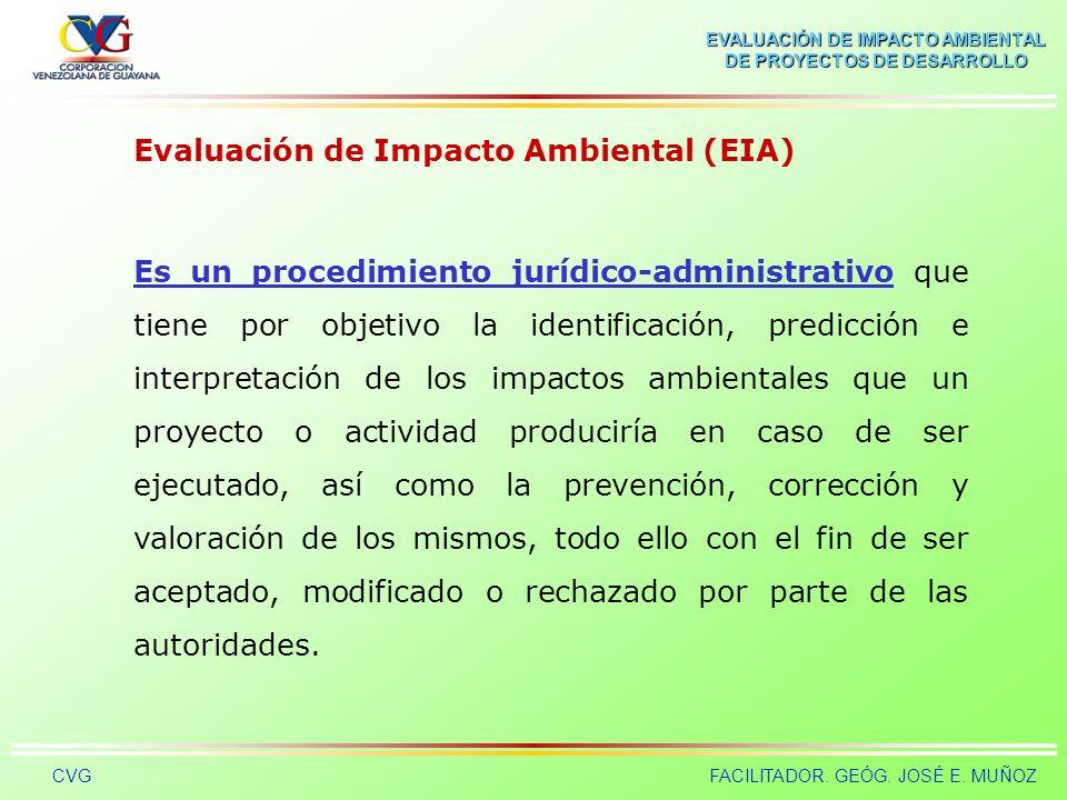 EVALUACIÓN DE IMPACTO AMBIENTAL DE PROYECTOS DE DESARROLLO CVGFACILITADOR. GEÓG. JOSÉ E. MUÑOZ TIEMPO CALIDAD AMBIENTAL (CA) tttt IMPACTO AMBIENTAL FI