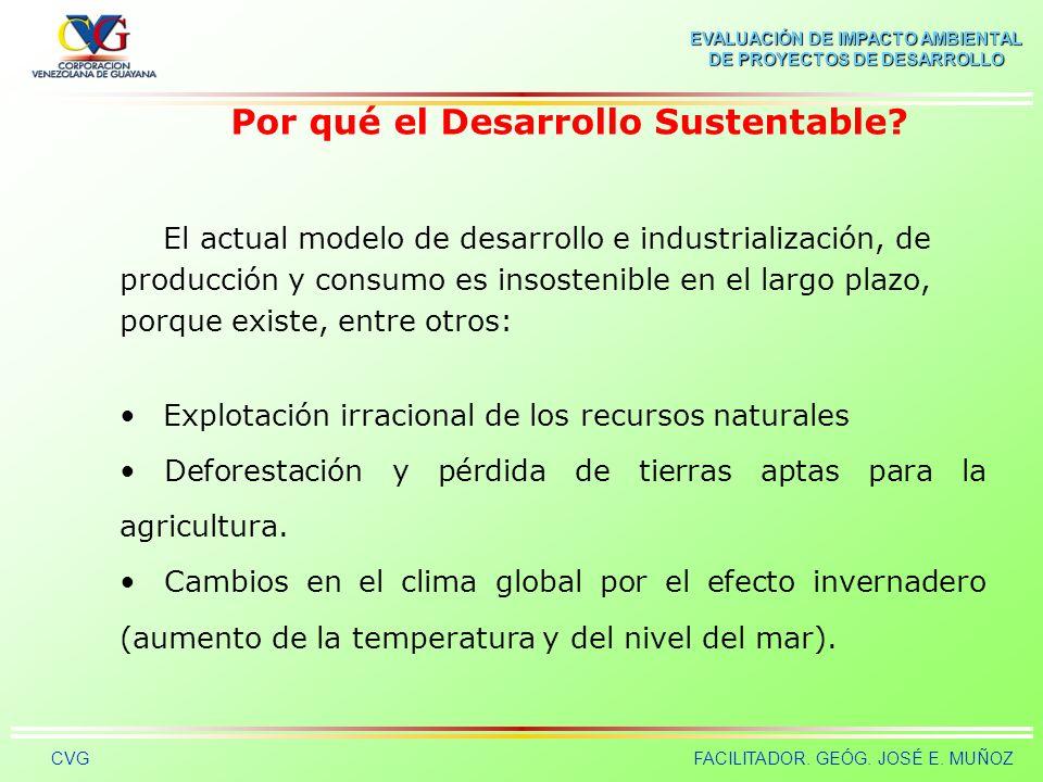 EVALUACIÓN DE IMPACTO AMBIENTAL DE PROYECTOS DE DESARROLLO CVGFACILITADOR. GEÓG. JOSÉ E. MUÑOZ ASÍ DESTRUIMOS LA TIERRA Impacto Ambiental = Población