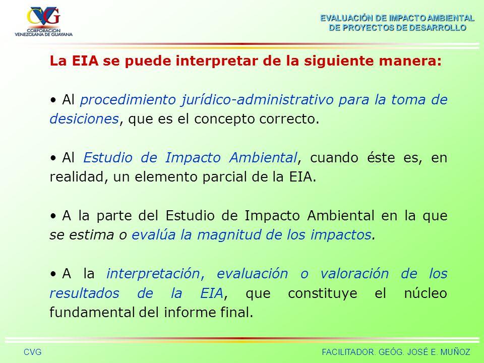 EVALUACIÓN DE IMPACTO AMBIENTAL DE PROYECTOS DE DESARROLLO CVGFACILITADOR. GEÓG. JOSÉ E. MUÑOZ Evaluación de Impacto Ambiental (EIA) La EIA es un inst