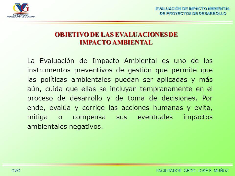 EVALUACIÓN DE IMPACTO AMBIENTAL DE PROYECTOS DE DESARROLLO CVGFACILITADOR. GEÓG. JOSÉ E. MUÑOZ Estudio de Impacto Ambiental El problema de la EIA cons
