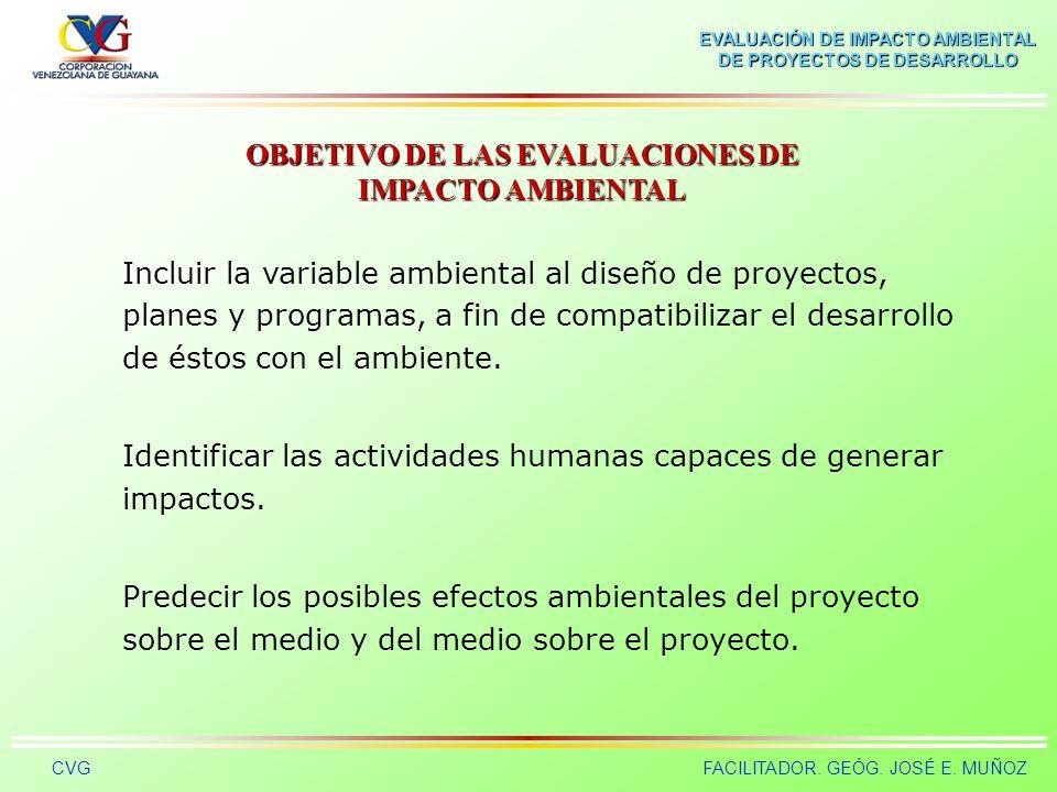 EVALUACIÓN DE IMPACTO AMBIENTAL DE PROYECTOS DE DESARROLLO CVGFACILITADOR. GEÓG. JOSÉ E. MUÑOZ La Evaluación de Impacto Ambiental es uno de los instru
