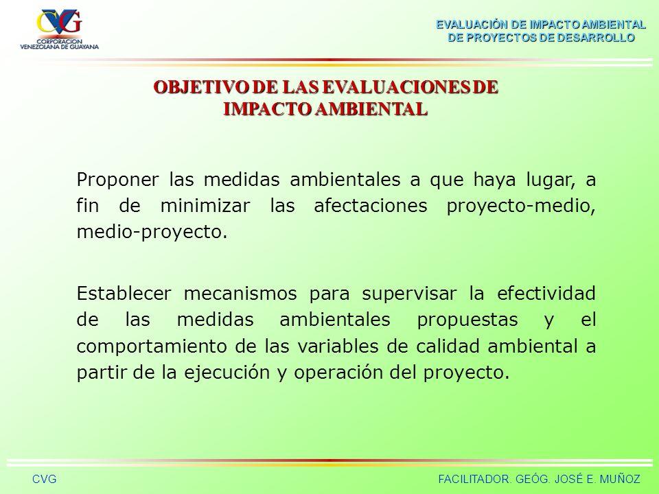 EVALUACIÓN DE IMPACTO AMBIENTAL DE PROYECTOS DE DESARROLLO CVGFACILITADOR. GEÓG. JOSÉ E. MUÑOZ Incluir la variable ambiental al diseño de proyectos, p