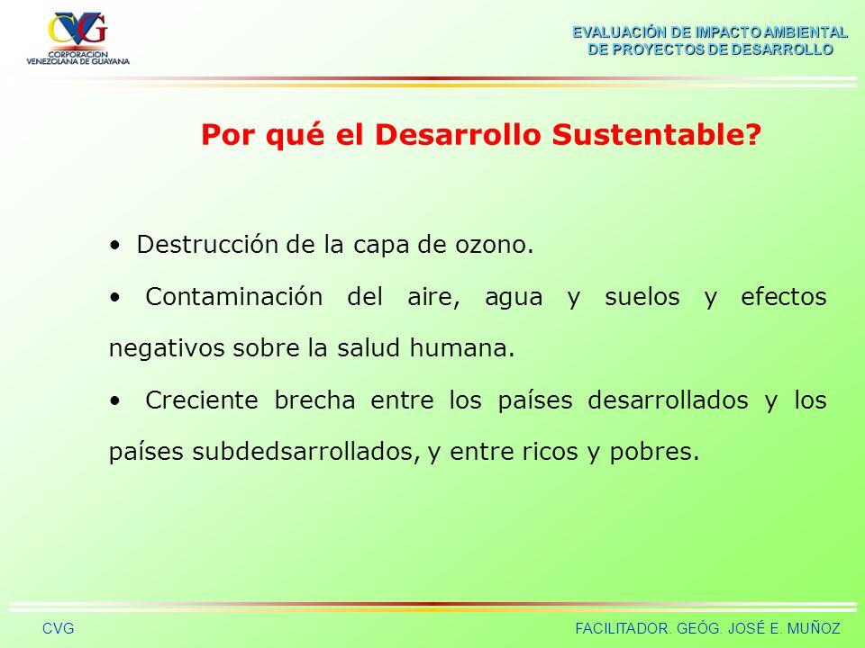 EVALUACIÓN DE IMPACTO AMBIENTAL DE PROYECTOS DE DESARROLLO CVGFACILITADOR. GEÓG. JOSÉ E. MUÑOZ Por qué el Desarrollo Sustentable? El actual modelo de