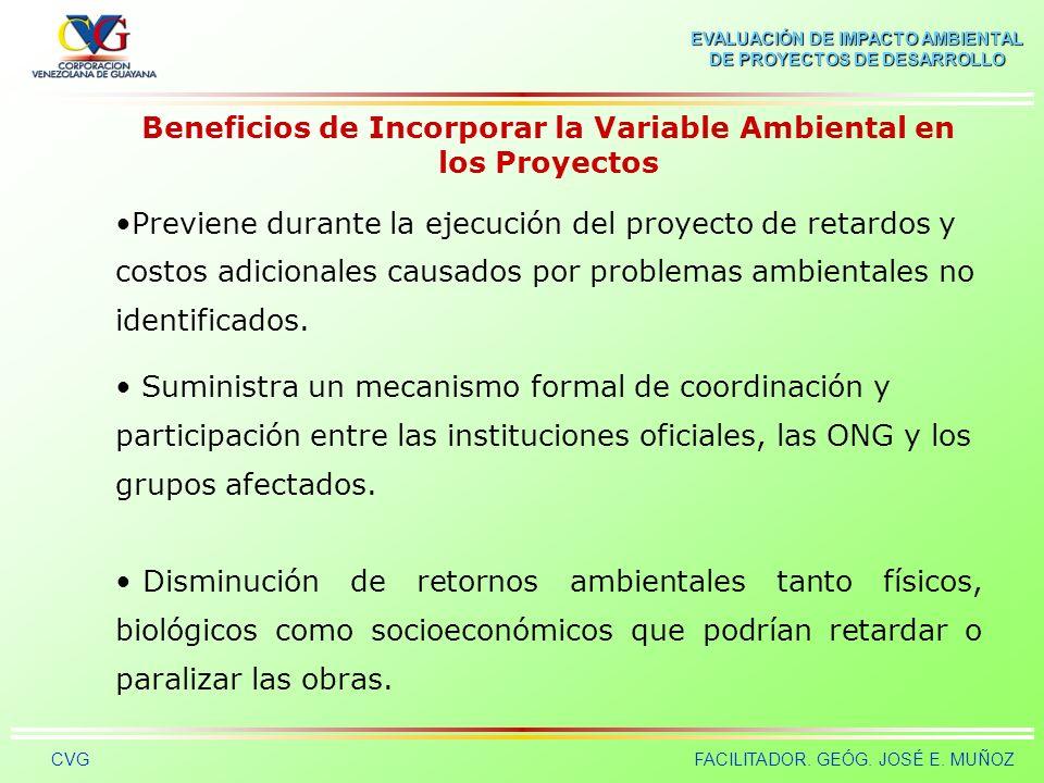 EVALUACIÓN DE IMPACTO AMBIENTAL DE PROYECTOS DE DESARROLLO CVGFACILITADOR. GEÓG. JOSÉ E. MUÑOZ Beneficios de Incorporar la Variable Ambiental en los P