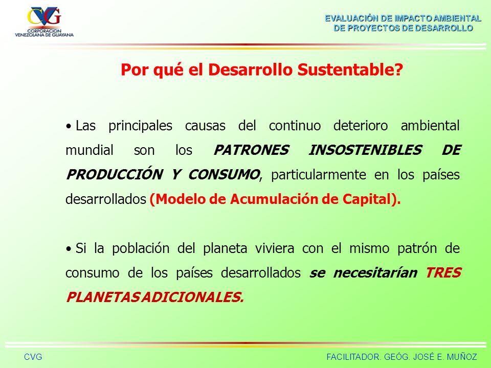 EVALUACIÓN DE IMPACTO AMBIENTAL DE PROYECTOS DE DESARROLLO CVGFACILITADOR. GEÓG. JOSÉ E. MUÑOZ Por qué el Desarrollo Sustentable? Destrucción de la ca