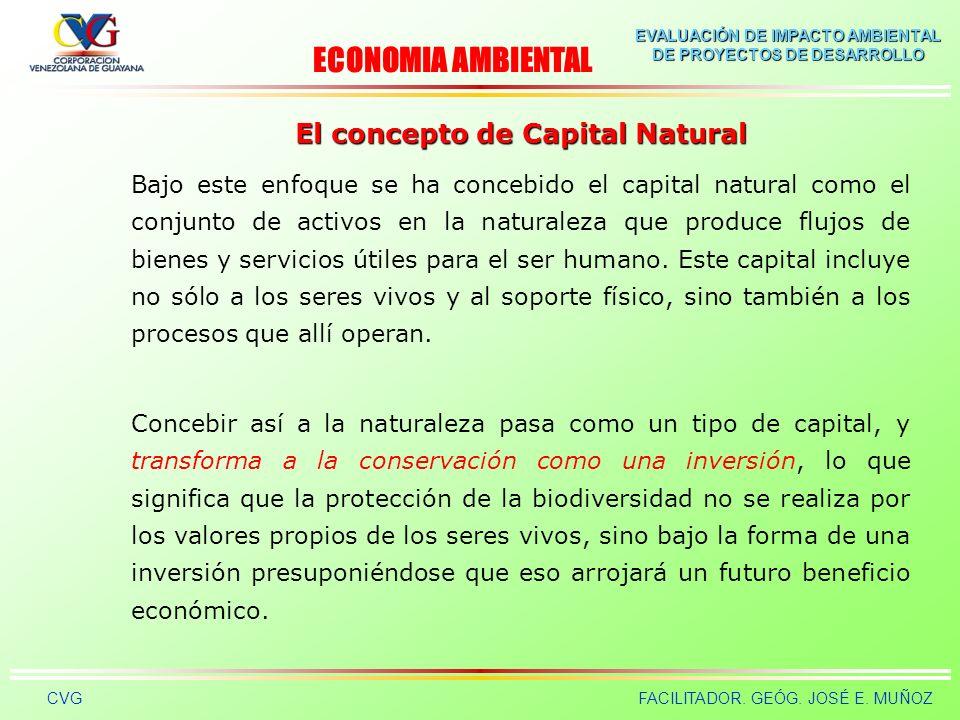 EVALUACIÓN DE IMPACTO AMBIENTAL DE PROYECTOS DE DESARROLLO CVGFACILITADOR. GEÓG. JOSÉ E. MUÑOZ El concepto de Capital Natural En el marco de la econom