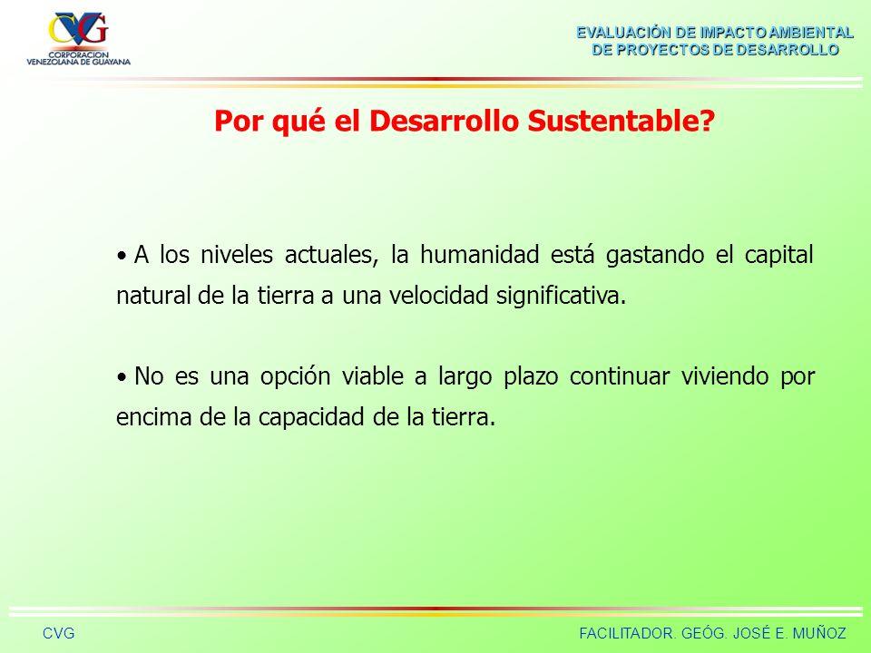 EVALUACIÓN DE IMPACTO AMBIENTAL DE PROYECTOS DE DESARROLLO CVGFACILITADOR. GEÓG. JOSÉ E. MUÑOZ Por qué el Desarrollo Sustentable? Las principales caus