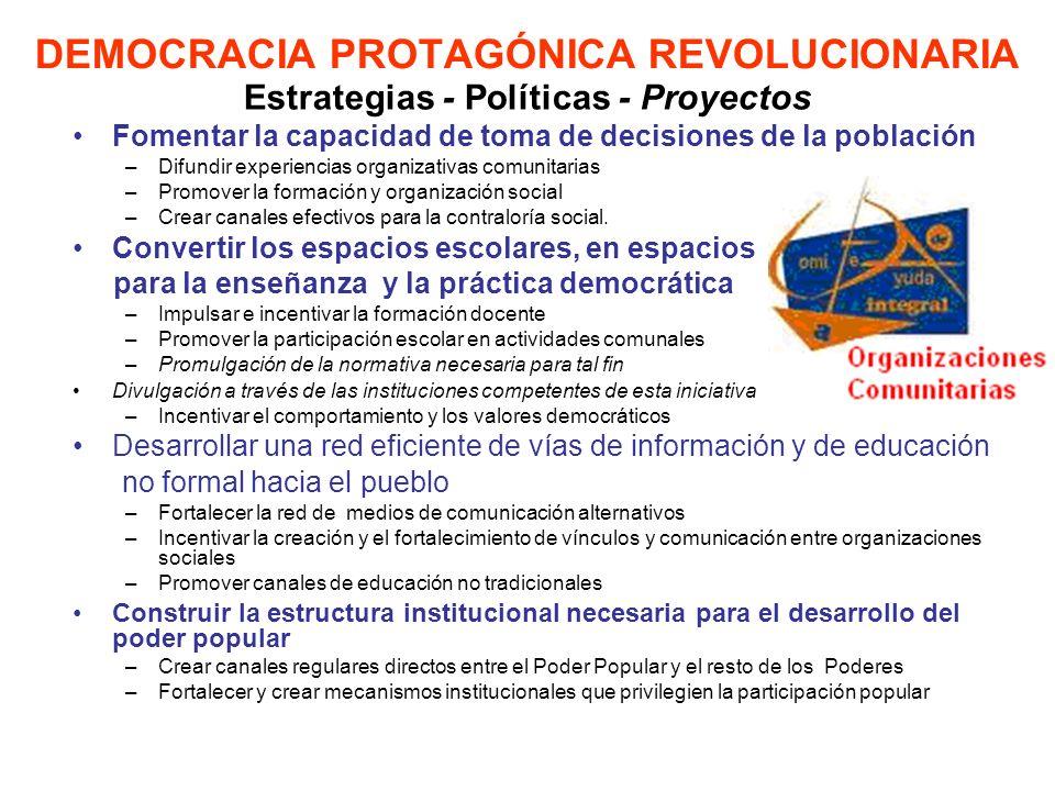 DEMOCRACIA PROTAGÓNICA REVOLUCIONARIA Fomentar la capacidad de toma de decisiones de la población –Difundir experiencias organizativas comunitarias –P