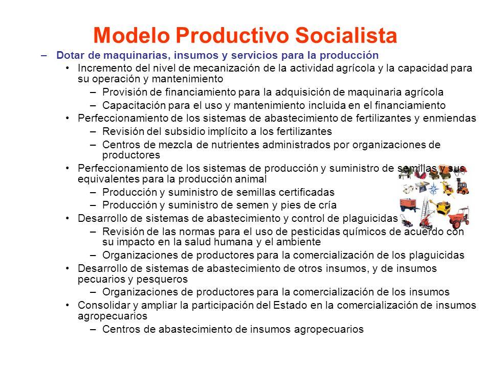 –Dotar de maquinarias, insumos y servicios para la producción Incremento del nivel de mecanización de la actividad agrícola y la capacidad para su ope