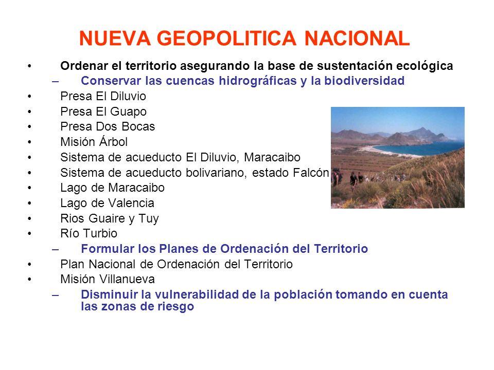 Ordenar el territorio asegurando la base de sustentación ecológica –Conservar las cuencas hidrográficas y la biodiversidad Presa El Diluvio Presa El G