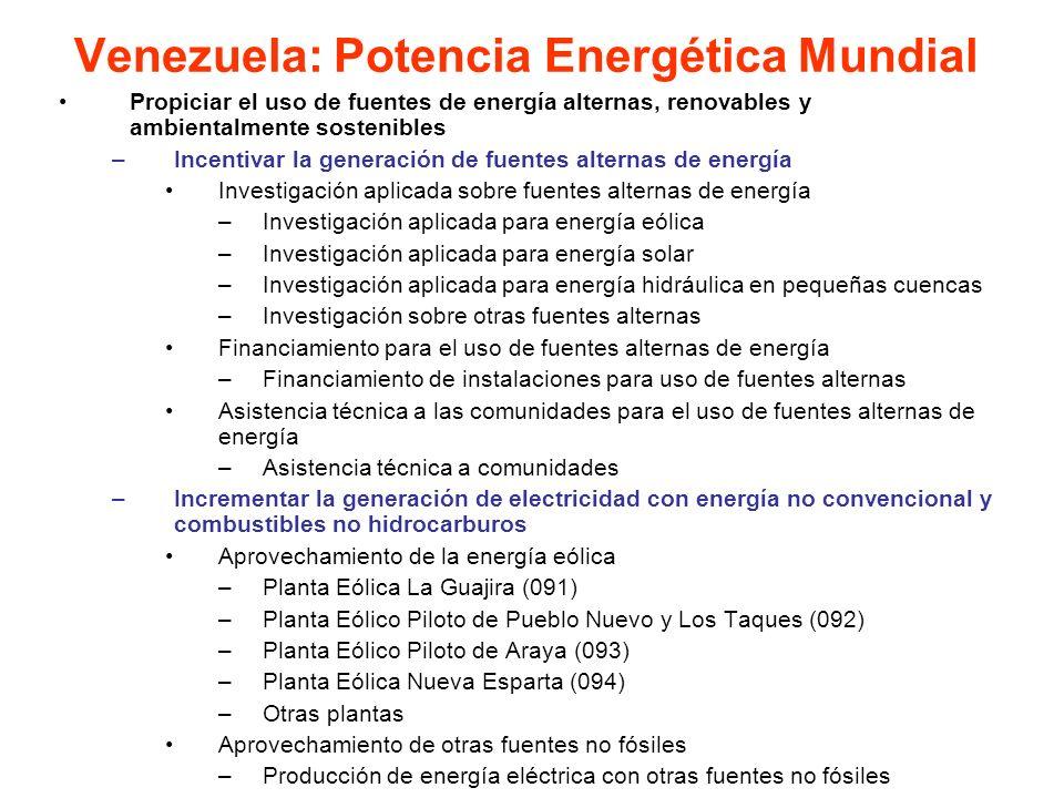 Propiciar el uso de fuentes de energía alternas, renovables y ambientalmente sostenibles –Incentivar la generación de fuentes alternas de energía Inve
