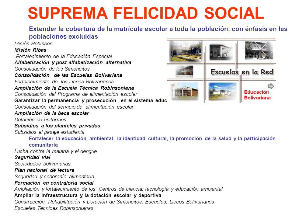 SUPREMA FELICIDAD SOCIAL Extender la cobertura de la matrícula escolar a toda la población, con énfasis en las poblaciones excluidas Misión Robinson M