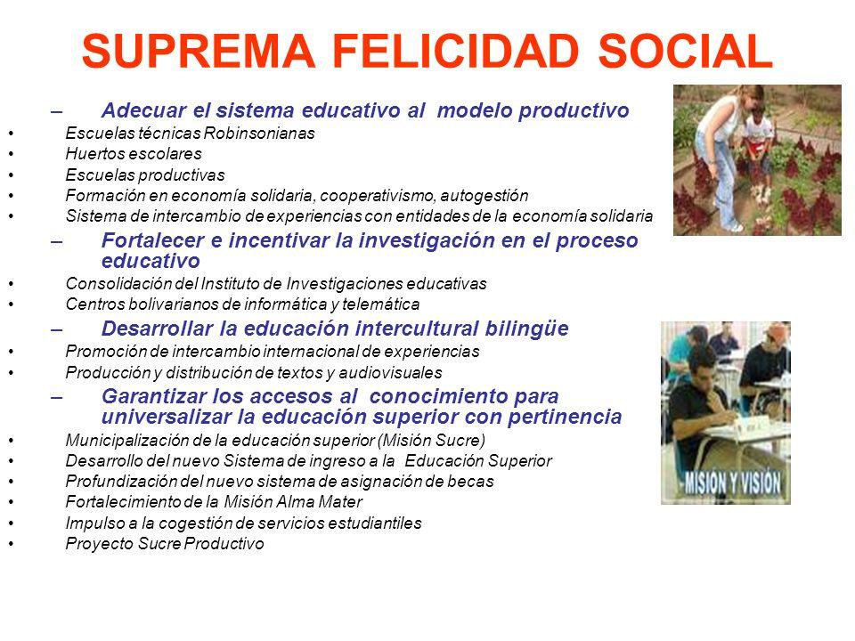SUPREMA FELICIDAD SOCIAL –Adecuar el sistema educativo al modelo productivo Escuelas técnicas Robinsonianas Huertos escolares Escuelas productivas For