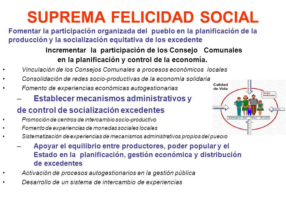SUPREMA FELICIDAD SOCIAL Incrementar la participación de los Consejo Comunales en la planificación y control de la economía. Vinculación de los Consej
