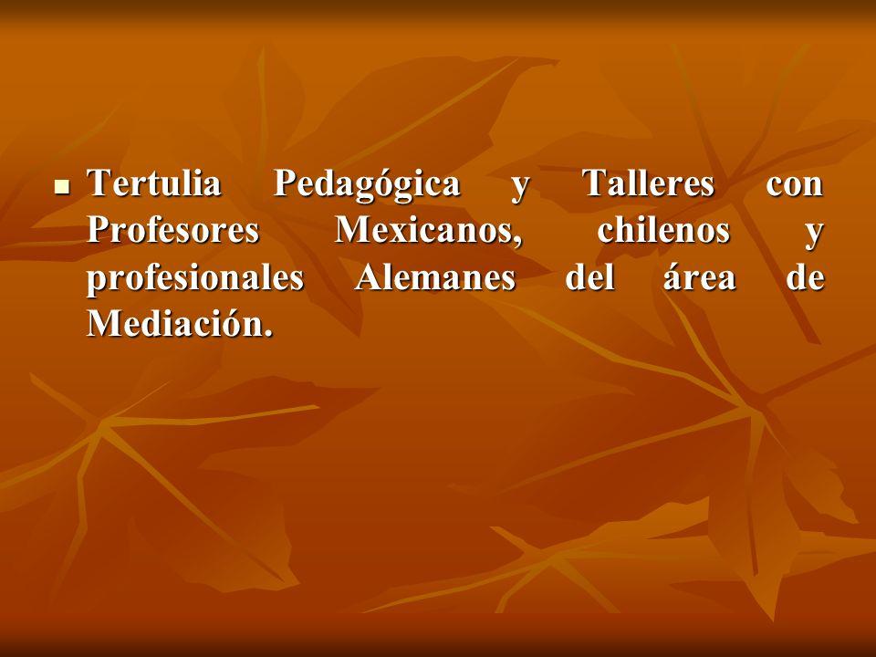 Tertulia Pedagógica y Talleres con Profesores Mexicanos, chilenos y profesionales Alemanes del área de Mediación. Tertulia Pedagógica y Talleres con P