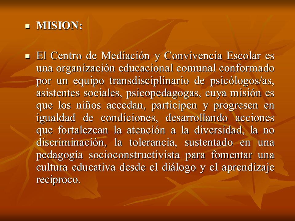 MISION: MISION: El Centro de Mediación y Convivencia Escolar es una organización educacional comunal conformado por un equipo transdisciplinario de ps