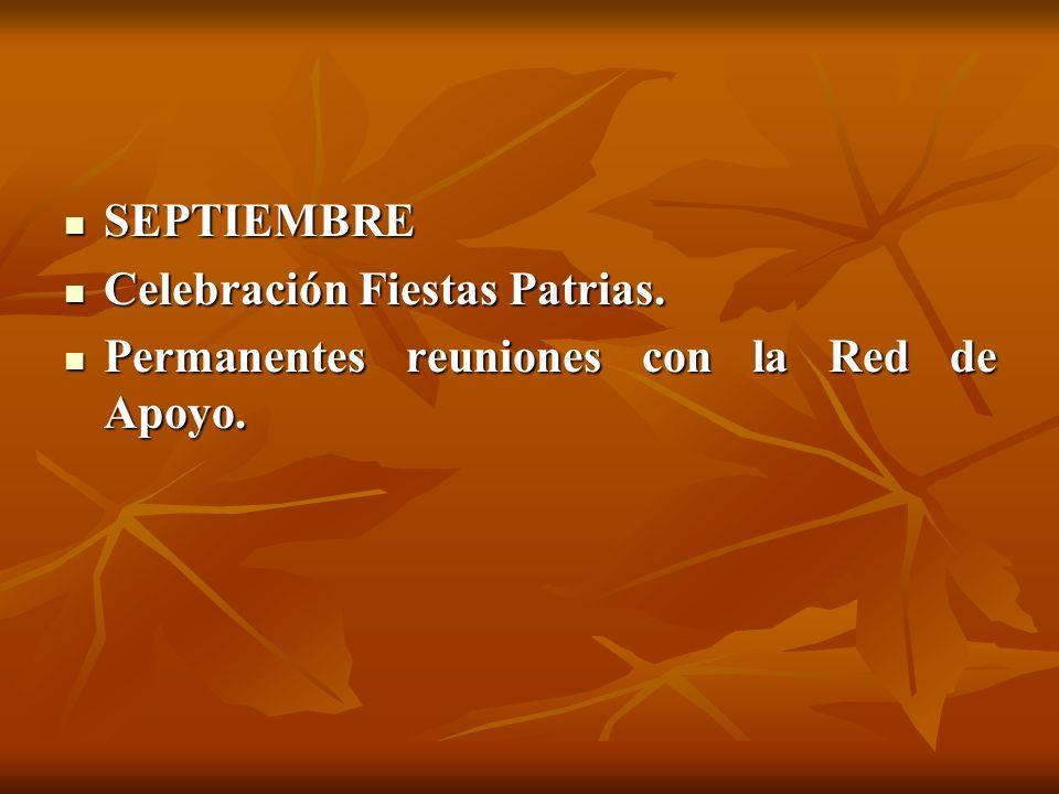 SEPTIEMBRE SEPTIEMBRE Celebración Fiestas Patrias. Celebración Fiestas Patrias. Permanentes reuniones con la Red de Apoyo. Permanentes reuniones con l
