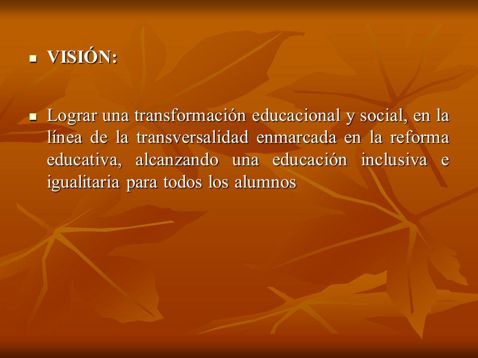 VISIÓN: VISIÓN: Lograr una transformación educacional y social, en la línea de la transversalidad enmarcada en la reforma educativa, alcanzando una ed