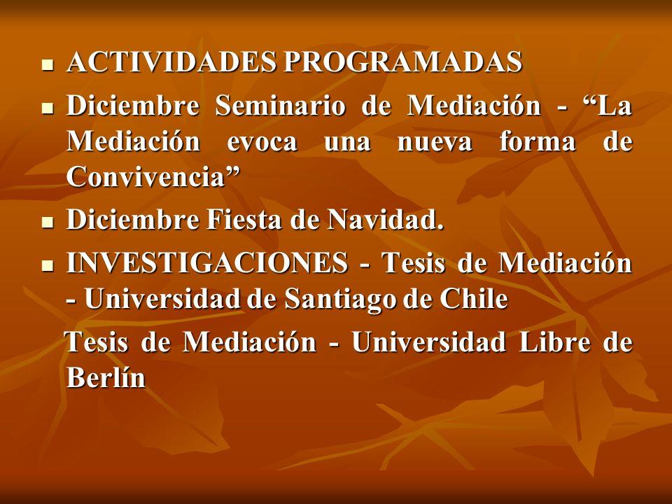 ACTIVIDADES PROGRAMADAS ACTIVIDADES PROGRAMADAS Diciembre Seminario de Mediación - La Mediación evoca una nueva forma de Convivencia Diciembre Seminar