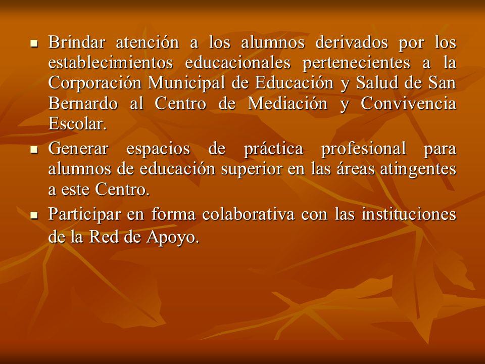 Brindar atención a los alumnos derivados por los establecimientos educacionales pertenecientes a la Corporación Municipal de Educación y Salud de San