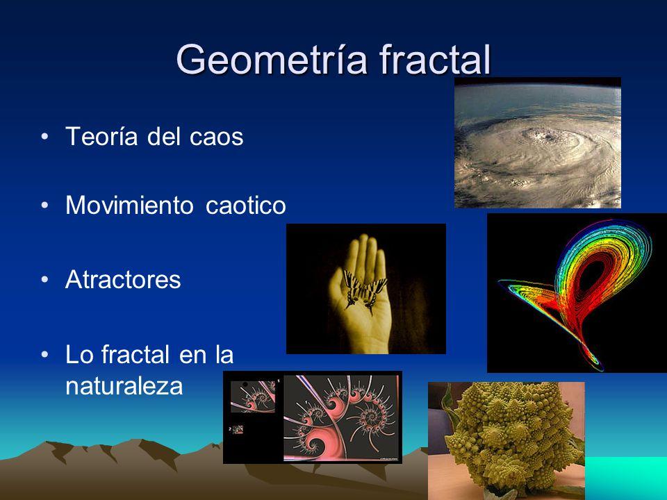 Geometría fractal Teoría del caos Movimiento caotico Atractores Lo fractal en la naturaleza