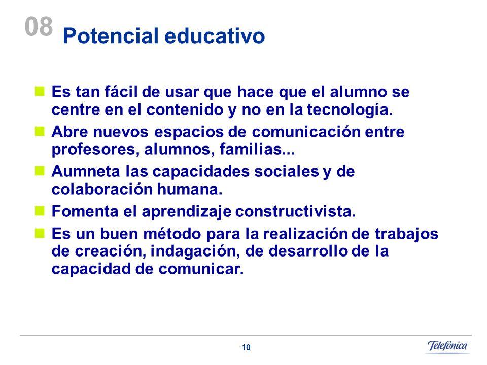 10 Potencial educativo 08 Es tan fácil de usar que hace que el alumno se centre en el contenido y no en la tecnología. Abre nuevos espacios de comunic