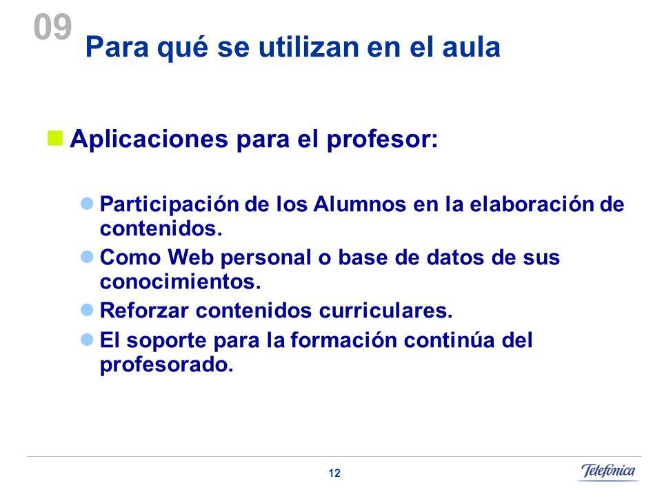 12 Para qué se utilizan en el aula 09 Aplicaciones para el profesor: Participación de los Alumnos en la elaboración de contenidos. Como Web personal o