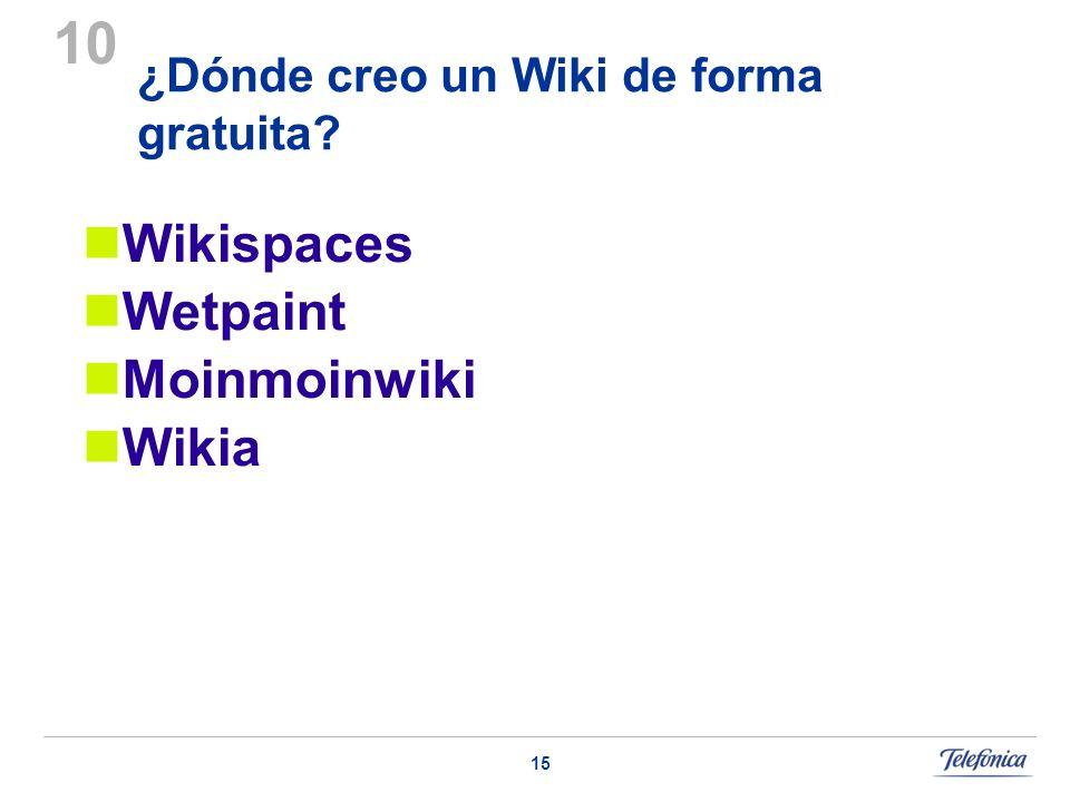 15 ¿Dónde creo un Wiki de forma gratuita? 10 Wikispaces Wetpaint Moinmoinwiki Wikia