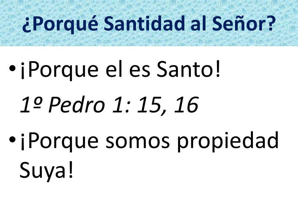 ¿Porqué Santidad al Señor? ¡Porque el es Santo! 1º Pedro 1: 15, 16 ¡Porque somos propiedad Suya!