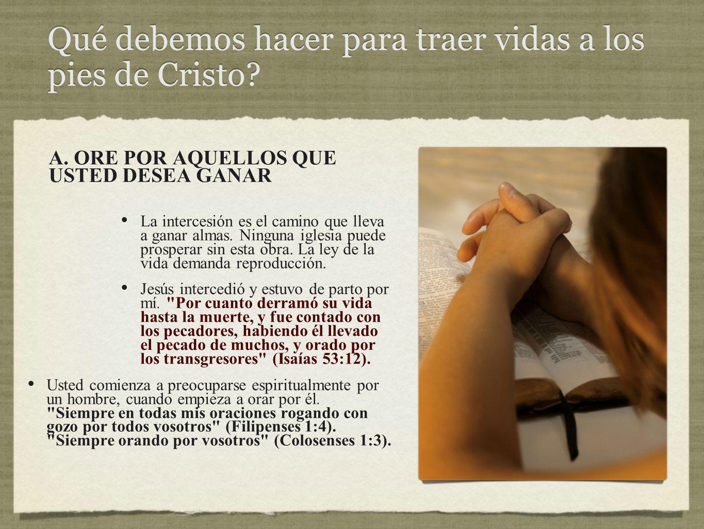 Qué debemos hacer para traer vidas a los pies de Cristo.