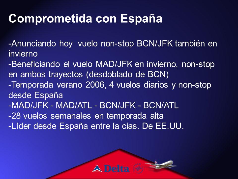 Comprometida con España -Anunciando hoy vuelo non-stop BCN/JFK también en invierno -Beneficiando el vuelo MAD/JFK en invierno, non-stop en ambos trayectos (desdoblado de BCN) -Temporada verano 2006, 4 vuelos diarios y non-stop desde España -MAD/JFK - MAD/ATL - BCN/JFK - BCN/ATL -28 vuelos semanales en temporada alta -Líder desde España entre la cias.