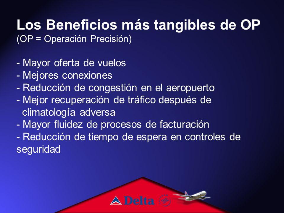 Los Beneficios más tangibles de OP (OP = Operación Precisión) - Mayor oferta de vuelos - Mejores conexiones - Reducción de congestión en el aeropuerto - Mejor recuperación de tráfico después de climatología adversa - Mayor fluidez de procesos de facturación - Reducción de tiempo de espera en controles de seguridad