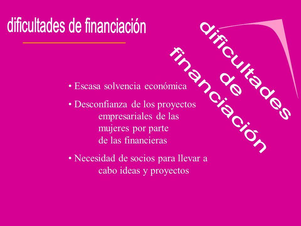 Escasa solvencia económica Desconfianza de los proyectos empresariales de las mujeres por parte de las financieras Necesidad de socios para llevar a c